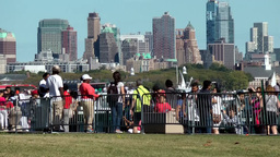 USA New York City 403 Brooklyn Skyline behind Liberty Island shore promenade Footage