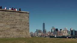 USA New York City 405 statue of liberty plinth with Manhattan skyline Footage
