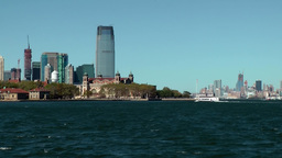 USA New York City 410 Ellis Island immigration station and Goldman Sachs Tower Footage
