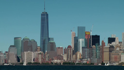 USA New York City 412 Financial District with One WTC seen from Liberty Island Footage