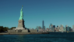 USA New York City 421 fast ride on Hudson with statue of liberty and skyline Footage