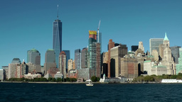 New York City 426 Manhattan financial district in smooth movement from Hudson Footage