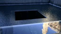 New York City 443 Manhattan 9/11 memorial pool; mirror image on water surface Footage