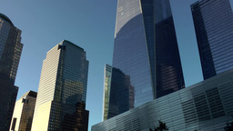 New York City 445 slow pan right between towers in Manhattan financial district Footage