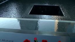 New York City 450 Manhattan nine eleven memorial light goes on in south pool Footage