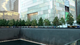 New York City 451 9/11 Memorial illuminated south pool Footage