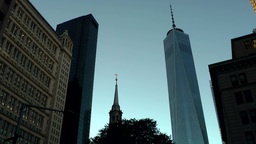New York City 452 downtown evening; St. Paul's Chapel and One Word Trade Center Footage