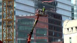 New York City 458 downtown Ground Zero lift platform at construction site Footage