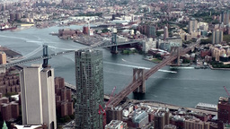 New York City 464 Manhattan and Brooklyn Bridge seen from World Trade Center Footage
