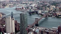 New York City 464 Manhattan and Brooklyn Bridge seen from World Trade Center Footage