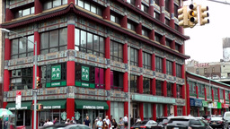 New York City 490 Chinatown district; big Chinese style building with a cafe Footage