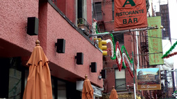 New York City 496 Little Italy district; advertising for Italian restaurants Footage
