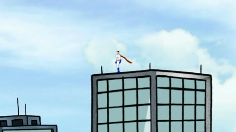 Super hero, Standing on building Animation