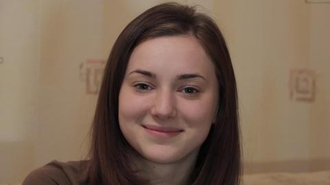 Face of a beautiful girl closeup Footage