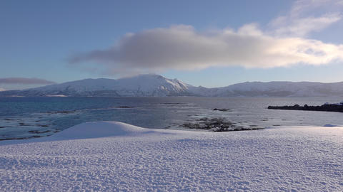 Sunny Winter Fjord and Cloud. Fast Motion Live Action