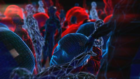 Geometric laser landscape with human figure. Seamless neon retro futuristic Animation