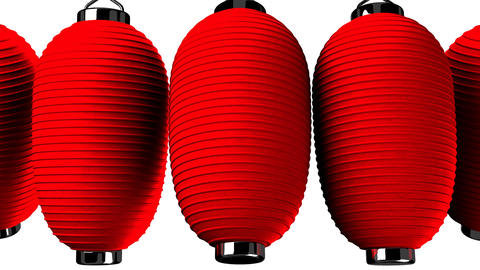 Red paper lantern on white background Animation