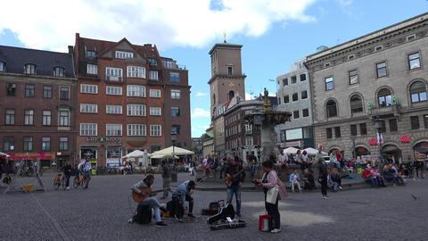 Gammeltorv Square. Old Square. Copenhagen. Denmark. 4K Live Action