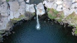 Korea jejudo cheonjeyeon Falls aerial photography ビデオ