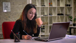 Portrait of young brunette businesswoman making notes into the copy-book and Archivo