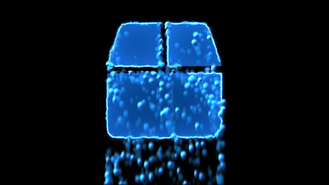 Liquid symbol closed box appears with water droplets. Then dissolves with drops Animation