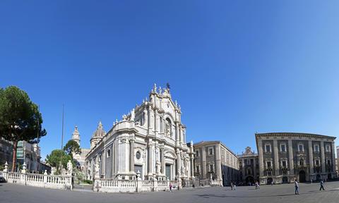 Piazza Duomo and Cathedral of Santa Agatha, Catania, Italy Photo