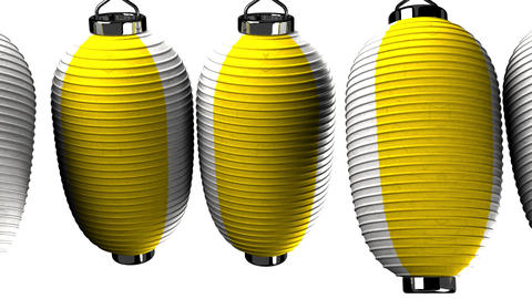 Yellow and white paper lanterns on white background Stock Video Footage