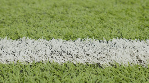 White line of the soccer field. Close-up horizontal slider shot Footage
