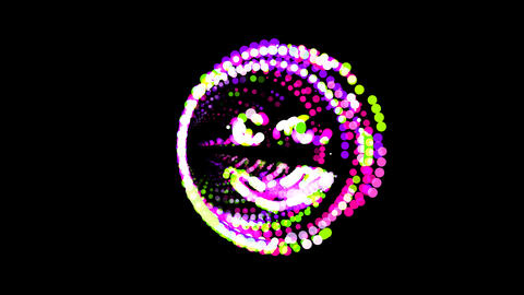 Circles gather in symbol smile. After it crumbles in a line and moves to the Animation