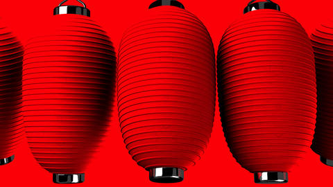 Red paper lantern on red background Animation
