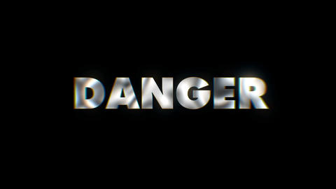 Danger - word animated text motion typographics slogan typeface vj loop Footage