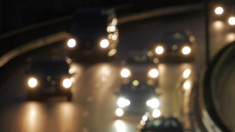 Bokeh car light at night. Out of focus traffic lights Live Action