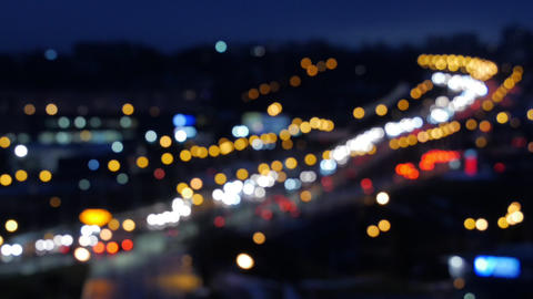 Bokeh car light at night. Out of focus traffic lights Footage