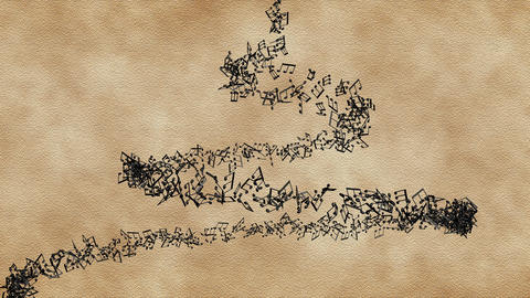 Musical notes in vertical vortex on the old paper background, loop movement Animation