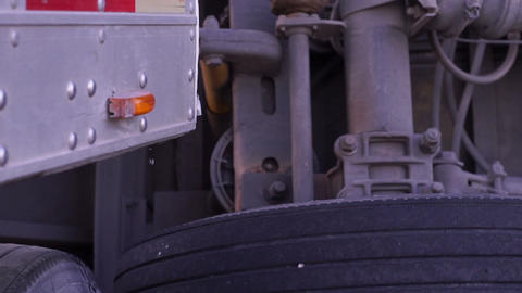 Tractor Trailer Overturned and Dripping Handheld Footage