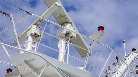 Radar Equipment Against Sky on Cruise Ship Footage