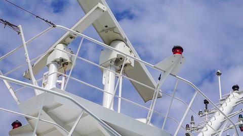 Radar Equipment Against Sky on Cruise Ship Footage