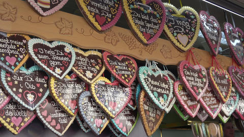 Gingerbread hearts on the Spring Festival Deggendorf Footage