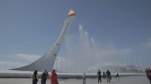 Fountain near the Olympic torch at the World Winter Olympic Games XXII Footage