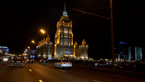Moscow, Russia - View from car to the Radisson Royal Hotel at night Footage