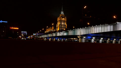 Moscow, Russia - View from car to the Radisson Royal Hotel at night Filmmaterial
