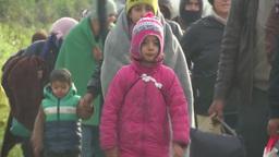 CHILDREN MIGRANT WALKING IN EU MIDDLEAST CRISIS Footage