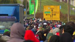 MASS MIGRANTS WALKING TOWARDS AUSTRIAN BORDER EU REFUGEES Footage