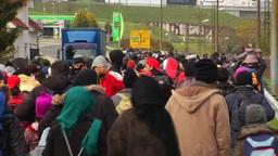 MIGRANTS WALKING TOWARDS AUSTRIAN BORDER MIDDLE EAST REFUGEES Footage