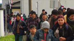 MIGRANTS WALKING TOWARDS AUSTRIAN BORDER EU REFUGEES Footage