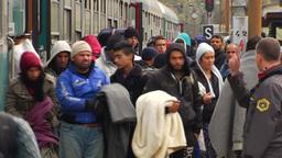 MIGRANTS ON TRAIN PLATFORM EU REFUGEES MIDDLE EAST CRISIS Footage