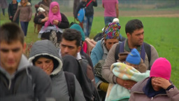 MIGRANTS WALKING TOWARDS CAMP MIDDLE EAST REFUGEES IN EU Footage