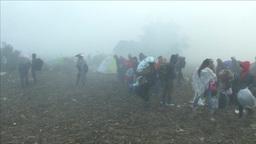 MIGRANTS WALKING TOWARDS THE BORDER WITH CROATIA Footage