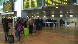 Germanwings Passenger At Airport stock footage