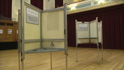 INSIDE TOWN HALL POLLING STATION READY TO VOTE Footage